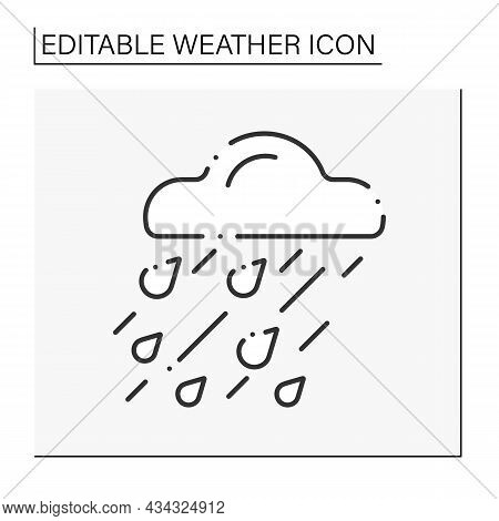 Heavy Rain Line Icon. Raindrops. Heavy Storm. Cloud With Drops. Bad Weather Forecast. Weather Concep
