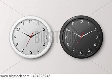 Vector 3d Realistic White And Black Wall Office Clock Set Isolated On White And Black Dial. Design T