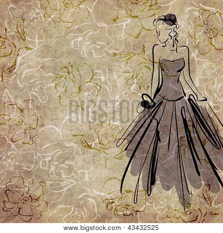 art sketching beautiful young  bride with the bride's bouquet on floral sepia background with space for text