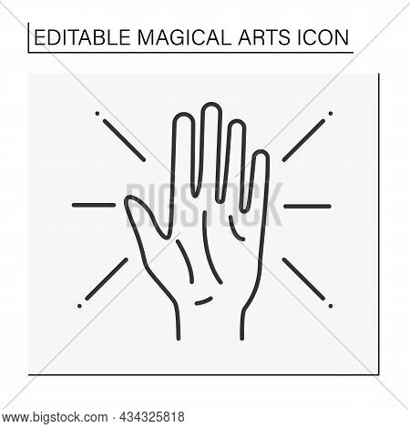 Predictions Line Icon. Divination, Future Prediction.lines Of Fate On Palm. Magical Arts Concept. Is