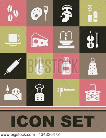 Set Handbag, Grater, Violin, Roman Army Helmet, Cheese, Coffee Cup, Beans And Fountain Icon. Vector