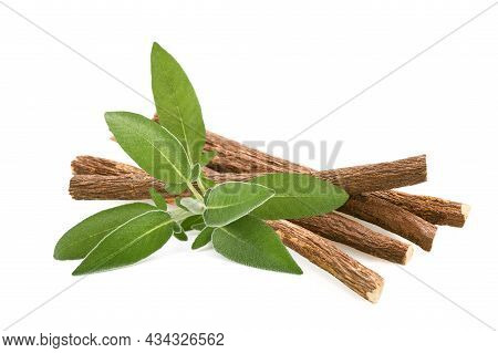 Sage And Licorice Roots Isolated On  White Background