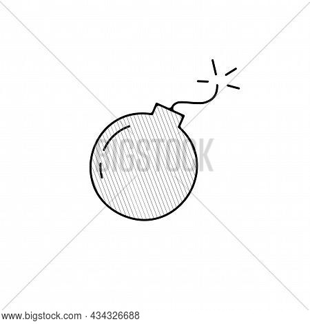 Bomb Vector Thin Line Icon. Bomb Hand Drawn Thin Line Icon.