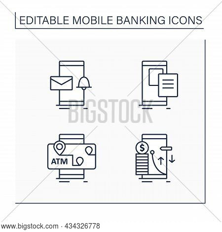 Mobile Banking Service Line Icons. Email Alert, Paperless Statements, Atms Mobile Map, Transaction L