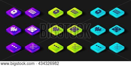 Set Hearts For Game, Tic Tac Toe, Pixel Hearts, Board Of Checkers, And Playing Cards Icon. Vector