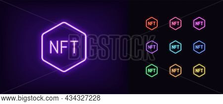 Outline Neon Nft Icon. Glowing Neon Nft Sign, Non-fungible Token Pictogram In Vivid Colors. Crypto A
