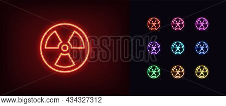 Outline Neon Radiation Icon. Glowing Neon Radiation Sign, Hazard Pictogram In Vivid Colors. Nuclear