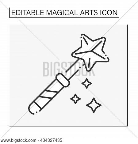 Magic Wand Line Icon. Rod For Magic Spells Or Performing Conjuring Tricks.magical Arts Concept. Isol