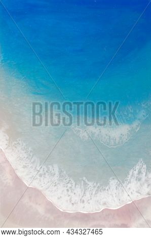 Resin Art, Beach, Blue Sea With White Foam And Light Beige Sand. Horizontal Painting