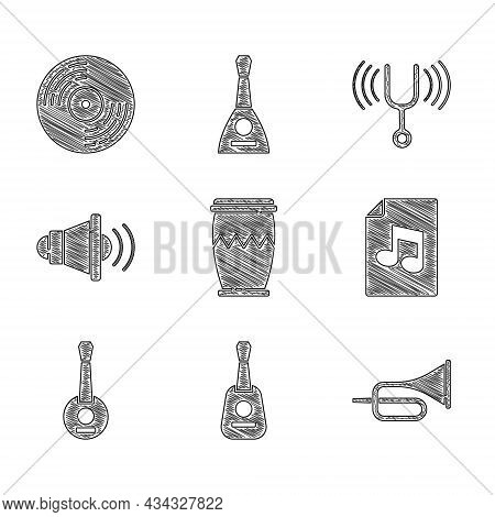 Set Drum, Guitar, Trumpet, Music Book With Note, Banjo, Speaker Volume, Musical Tuning Fork And Viny