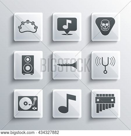 Set Music Note, Tone, Pan Flute, Musical Tuning Fork, Clarinet, Vinyl Player With Vinyl Disk, Stereo