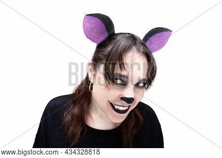 Hyena cosplay girl isolated on white background. Animal make-up. Cartoon character.
