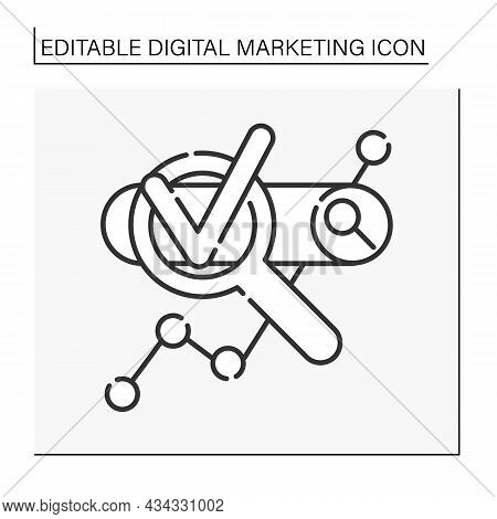 Search Engine Optimization Line Icon. Maximizing The Number Of Visitors To A Website. First Search R