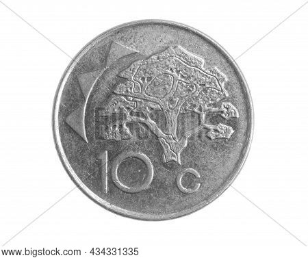 Namibia Ten Cents Coin On White Isolated Background