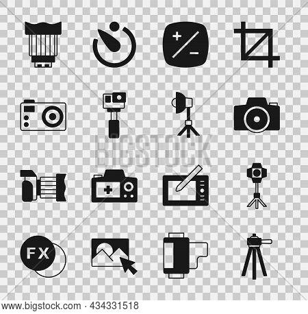 Set Tripod, Softbox Light, Photo Camera, Exposure Compensation, Action, Camera Photo Lens And Icon.
