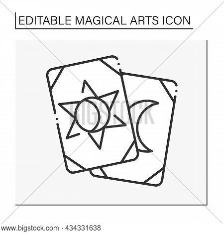 Tarot Cards Line Icon. Gambling. Divination, Future Prediction. Magical Arts Concept. Isolated Vecto