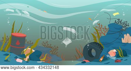 Ocean, Sea Or River Water Polluted With Garbage Waste Vector Illustration. Cartoon Dirty Underwater