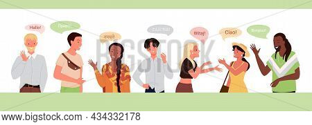 International People Greeting, Speak Different Native Languages Vector Illustration. Cartoon Multicu