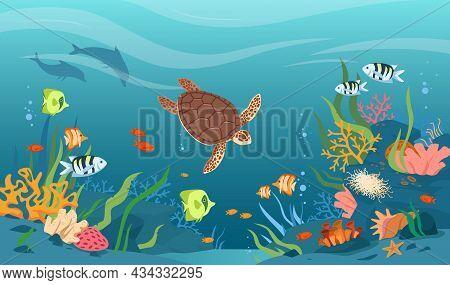 Turtle In Sea Or Ocean Waters, Underwater Tropical Wildlife Vector Illustration. Cartoon Aquatic Ani