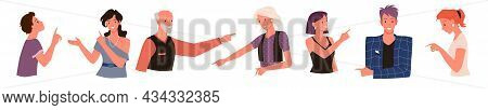 Cartoon Adult Old And Young Man Woman Characters, Child Boy Pointing In Various Poses, Girl Posing I