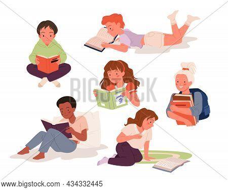 Children Read Book Set, Education Vector Illustration. Cartoon Girl Boy Character Study, School Chil