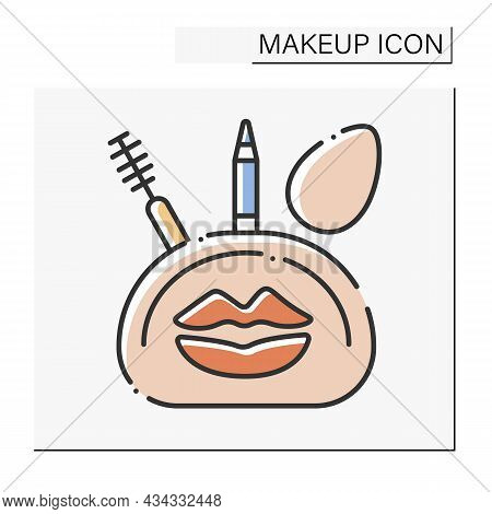 Makeup Kit Color Icon. Useful Suite With Mascara, Eye Pencil And Sponge. Cosmetic Bag With Necessary