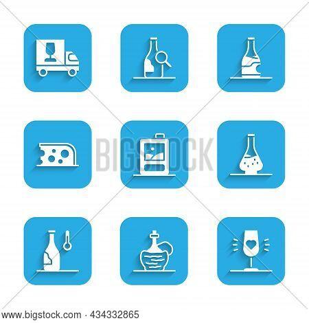 Set Cardboard Box Of Wine, Wine Italian Fiasco Bottle, Glass, Decanter For, Temperature, Cheese, Bot