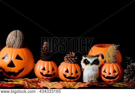 Halloween Human Skull, Halloween Pumpkins On An Old Wooden Table In Front Of Black Background With F