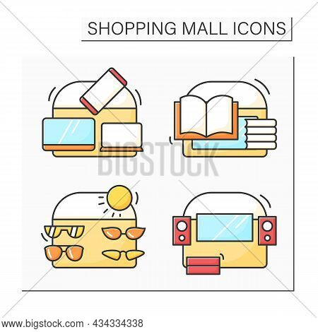 Shopping Mall Color Icons Set. Accessories, Electronic And Book Store, Entertainment Center. Mall Co