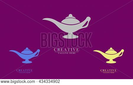 Elegant Genie Lamp, Great For Miracle Icon Logo, Target Achievement, Impossible Thing, Dream. Vector