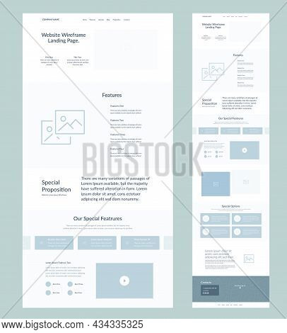 Website Design Template. Modern Wireframe Landing Page For Development. Flat One Page Site. Ui Ux El