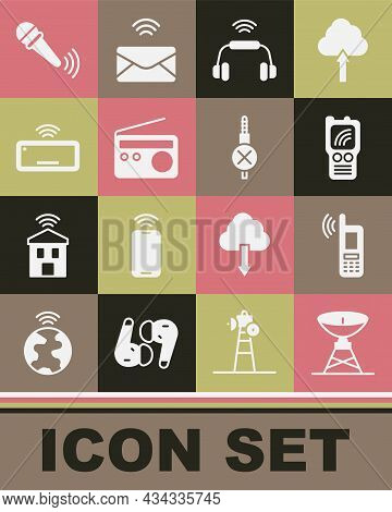 Set Satellite Dish, Mobile With Wi-fi Wireless, Walkie Talkie, Smart Headphones System, Radio, Compu