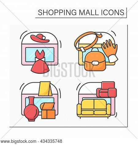 Shopping Mall Color Icons Set. Fashion Boutique, Leather Accessories, Furniture Store, Home Decor. M