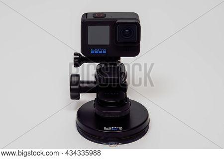Thessaloniki, Greece - September 27 2021: Gopro Hero 10 Black With Blue Logo. Action Camera Mounted