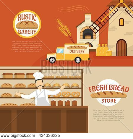 Flat Design Rustic Bakery And Fresh Bread Store Horizontal Banners Isolated Vector Illustration