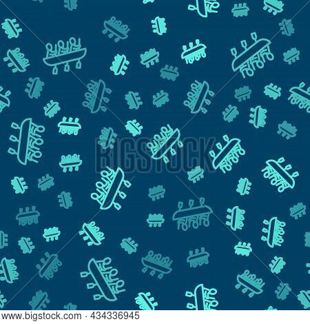 Green Line Canoe Rowing Team Sports Icon Isolated Seamless Pattern On Blue Background. Three Athlete