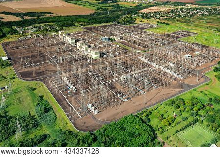 Aerial View Of An Electric Substation In Brazil.