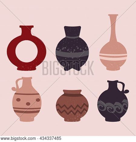 Collection Of Cute Colorful Ceramic Vases Of Different Shapes On Pink Background. Different Shapes.