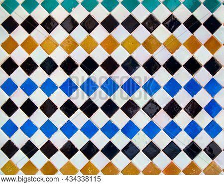 Moorish ceramics with simple colorful geometric pattern