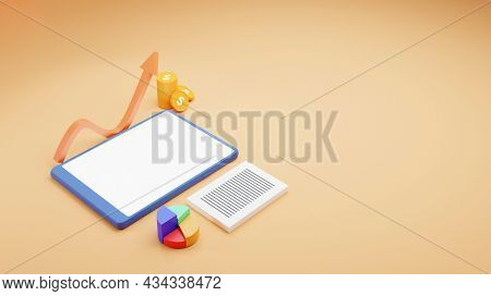 3D Smartphone With Pie Chart, Paper Stack, Coins And Growing Arrow On Peach Yellow Background.