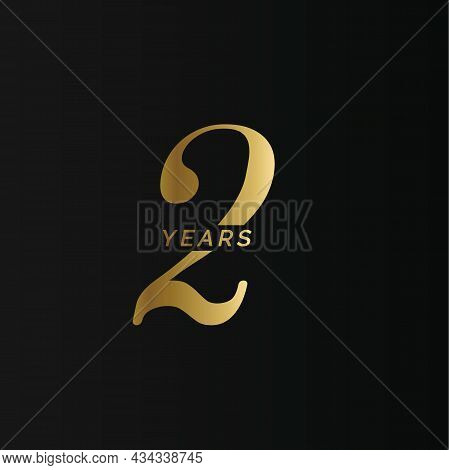 Anniversary Company Logo, 2 Years, Two Gold Number, Wedding Anniversary, Memorial Date Symbol Set, G