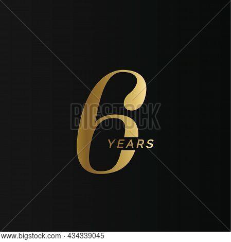 Anniversary Company Logo, 6 Years, Six Gold Number, Wedding Anniversary, Memorial Date Symbol Set, G