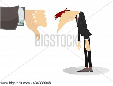 Businessman And A Hand With Thumb Down. Sad Businessman With Head Down And Hand With Thumb Down. Dis