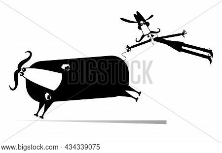 Cartoon Rider And A Balky Bull Isolated Illustration. Rodeo. Farmer Or Cowboy Catches A Running Bull