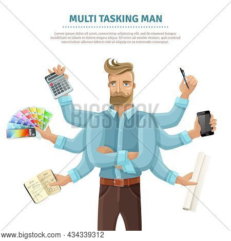 Multitasking Flat Informative Poster With Text And Eight-armed Young Man Reading Mailing Writing Sim