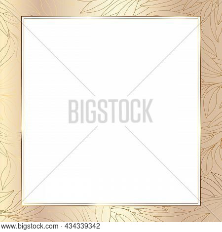Luxurious Gold Frame For Invitation, Wedding, Certificate. Square Frame With Place For Text. Pattern