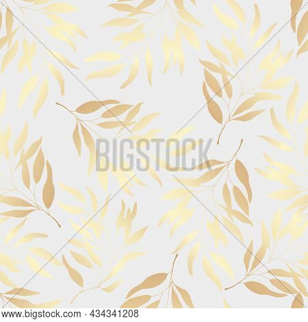 Seamless Pattern Golden Leaves On A White Background. Vector Illustration.