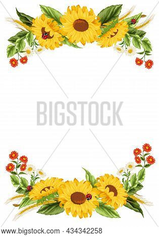 Color Illustration With Sunflower Decoration.sunflowers, Ears And Meadow Flowers In The Decoration O