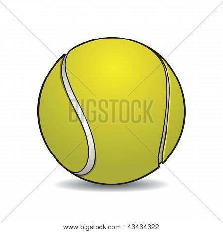 Realistic tennis ball with outline