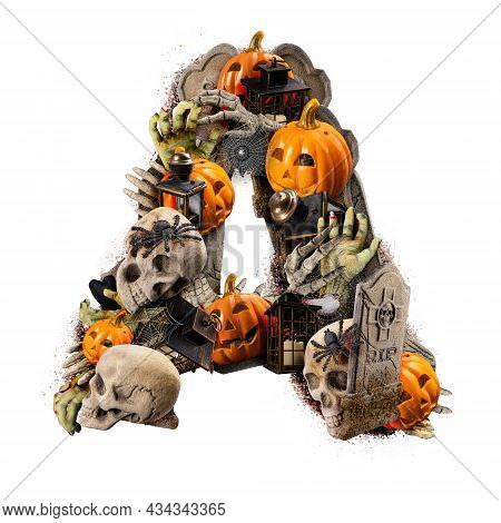 Letter A Made Of Variety Halloween Objects Isolated On White Background